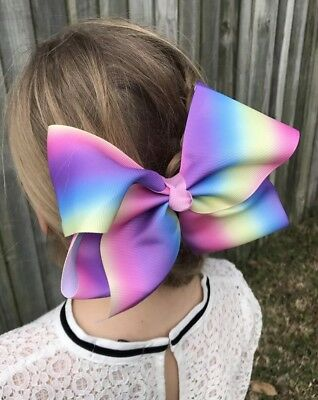 "Jojo  Style -Large Pastel Ombré🍬 HollyBow 8"" Dance Hair Clip Bow W/ Bow Holder"