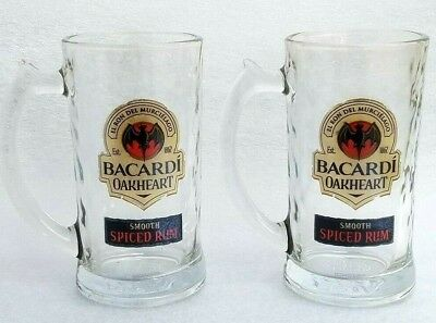 Bacardi Oakheart Smooth Rum Heavy Mug Glasses Drinking Beer Stein 12 oz Set of 6
