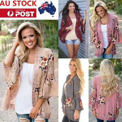 AU Women Floral Tops Cardigan Flared Sleeve Cover Up Loose Kimono Jacket Blouses
