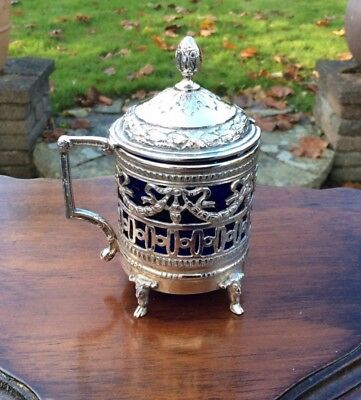 Continental Silver Mustard Pot With Blue Glass Liner STUNNING DETAIL
