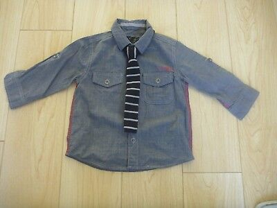 Next baby boys smart grey shirt and tie age 18 24 months 1 1/2 2 years casual