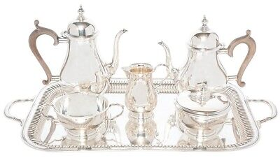Fisher Sterling Silver  Coffee and Tea Service In The Queen Anne Pattern