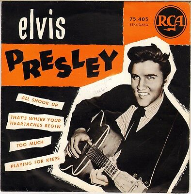 """Rare Elvis Presley """"all Shook Up"""" French 50's Ep Rca 75405(11-57) First Edition!"""