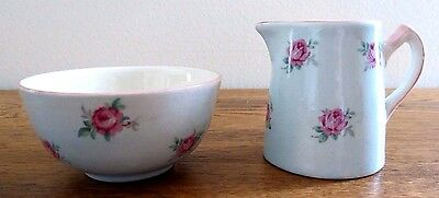 Vintage BCM Nelsonware Miniature Bowl and Pitcher, Blue with Pink Roses, England