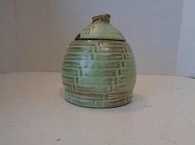 Vintage Frankoma Prairie Green Beehive Honey Pot Pottery Jar # 803