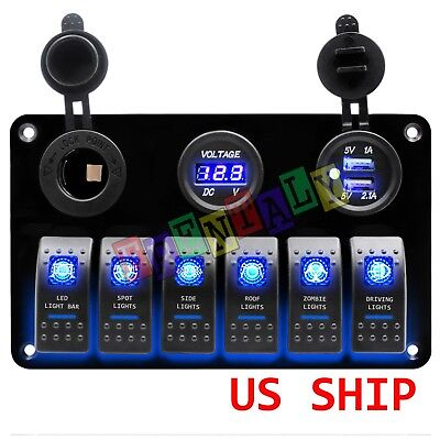 Car Marine Boat 6-Gang Waterproof Circuit Blue LED Rocker Switch Panel Breaker