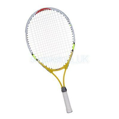 """Junior Strung Tennis Racquet 23"""" with Cover for Kids Youth Children, Yellow"""