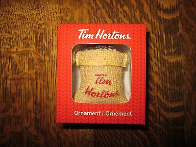 2016 NEW Tim Hortons ORNAMENT * Bean Sack Bag * Coffee * Christmas * Collectible
