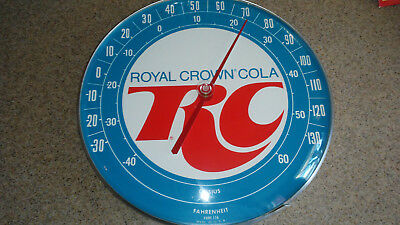 """1980s jumbo dial round advertising thermometer RC Cola excellent condition. 12"""""""