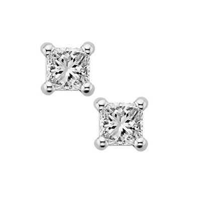 1/4 ct. tw. Diamond April Birthstone Solitaire Earrings in 14k White Gold