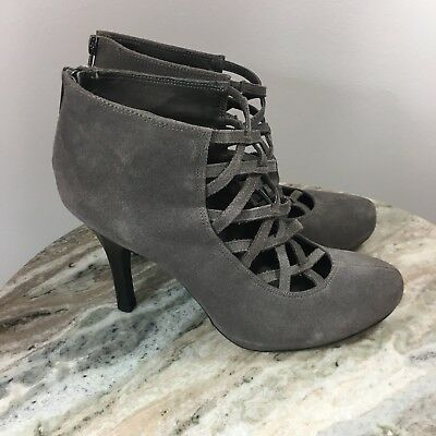 b2542e70c84 Steve Madden Hyper Booties Gray Suede 9.5M Lace Up Heels Boots Shoes
