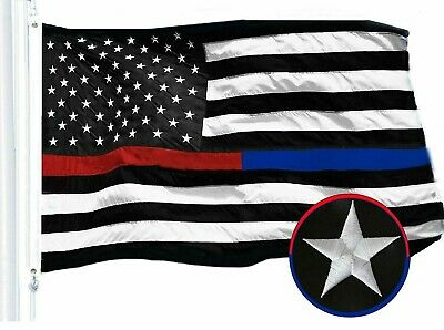 G128 – Thin Blue & Red Line Police Flag | 3x5ft | Embroidered Stars Sewn Stripes