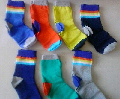 Mini boden box of socks 7 pairs boys size 7-11 years shoe 12.5 up 4.5 multicolor