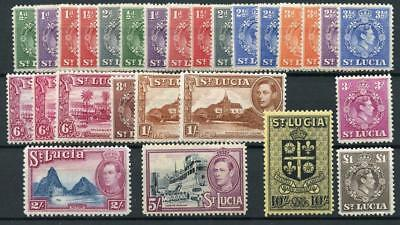 St Lucia 1938-48 complete all perfs and shades SG128/41 MLH/MM