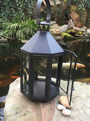 Large Pottery Barn Vienna Hurricane Candle Lantern Gl Dark Bronze Black