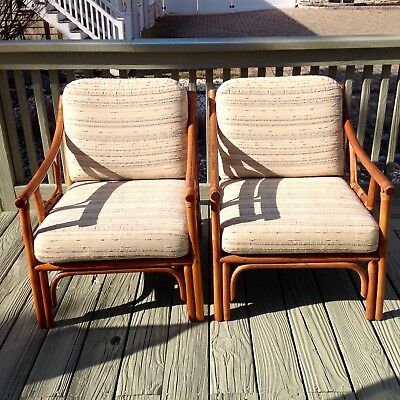 Vintage Pair of Bamboo & Rattan Lounge Chairs Distinctive Rattan by Clark Casual