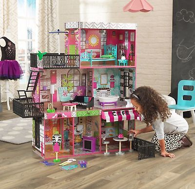 Barbie Size Dollhouse Furniture Girls Playhouse Dream Play Wooden Doll House