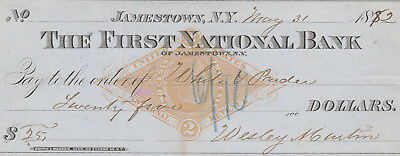 THE FIRST NATIONAL BANK of JAMESTOWN, NEW YORK .  1882   WITH REVENUE