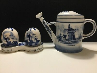 Vintage Finest China Hand Painted Watering Can & Salt Cellar In Egg Form
