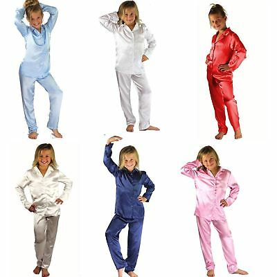Kids Satin Long Sleeve Pyjamas pj's Nightwear Children Sleep Girls 2-13 Boys
