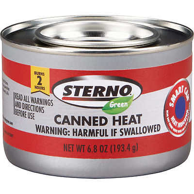 10 Cans Sterno 6.8oz. Green Canned Heat  2-Hour Heat Ethanol Gel Chafing Fuel