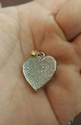 SOLID 10k gold 2 tone micro pave NATURAL DIAMOND heart PENDENT approx .50 ct