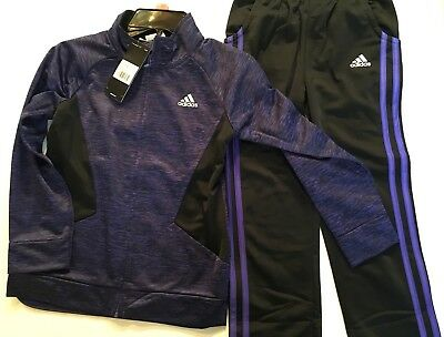 ADIDAS Boys Girls Jacket Pant Top Track Suit Black Warm Up NWT