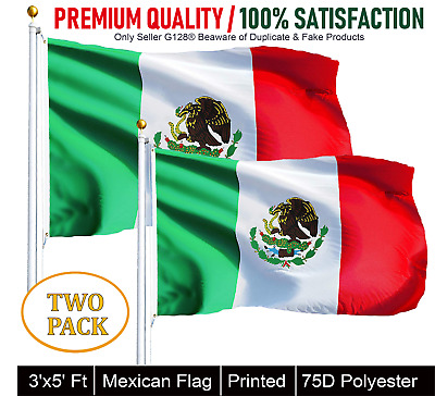 TWO PACK of 3' x 5' ft Polyester Mexican Flag MEXICO High Quality