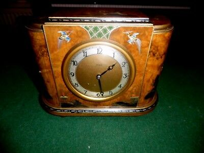 edwardian japanned  mantle clock