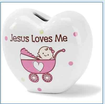 Jesus Loves Me Baby Girl Bank - Pink Carriage - Baby Shower Gift Ceramic Heart