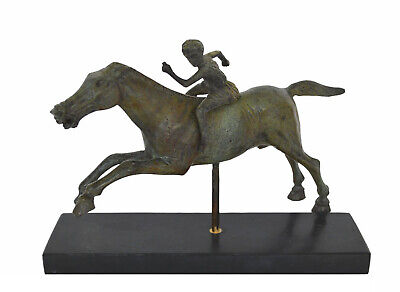 Handcrafted Bronze Polo Player Statue Horse Jockey Figurine Casting Hot Cast Art