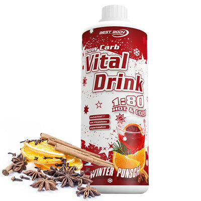 Best Body Nutrition Low Carb Vital Drink 1000 ml Winter Punsch Getränkesirup