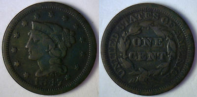 1847 Dark Copper Braided Hair Liberty Head Large Cent US Type Coin F