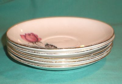 Vintage 5 saucers and 5 side plates -rose- / Swinnertons/Pottery/British