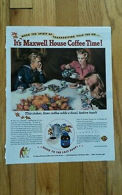 """Thanksgiving Maxwell House Coffee Print Ad Approx 10"""" x 13"""""""
