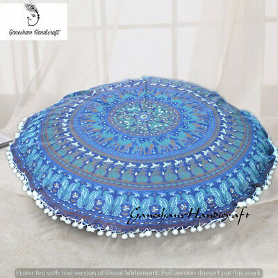 Indian Round Seating Pouf Cover Bohemian Style Mandala Ethnic Decorative Pillows