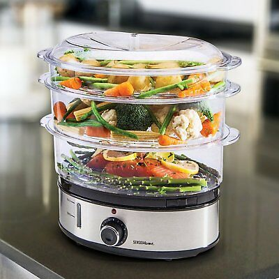 Stainless Steel 3 Tier Steamer Portable Electric Steamer 6.8 Ltr Capacity New