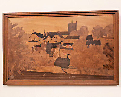 Antique Charles Spindler Marquetry Panel of Knaresborough