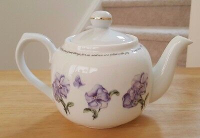 Dayspring Lilac Flower Teapot w/ 4 Teacups and Saucers Psalm 126:3 Verse