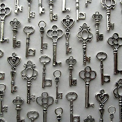 Lot of 48 Skeleton Antique Keys Wall Decor Vintage Jewelry Silver Home Charm Set
