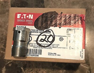 QTY: 20 NEW IN BOX CROUSE & HINDS ECD-15!!Explosion-Proof Breather Conduit Drain