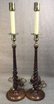 Pair Of Antique English Wooden Barley Twist Brass Carved Candlestick Lamps