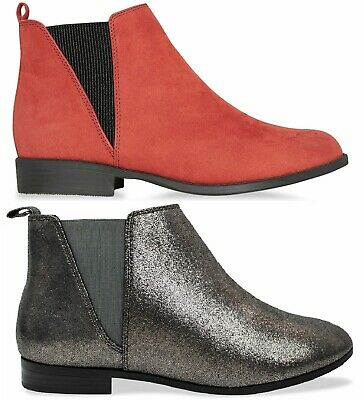 Ladies Womens Flat Ankle Chelsea Causal Low Heel Dealer Pull On Shoes Boots Size