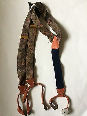 100% Silk Men's Suspenders Braces Brass Brown Leather Blue Khaki Gold Pink