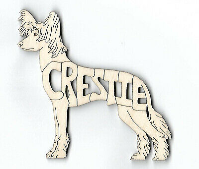 Chinese Crested Crestie Dog laser cut and engraved wood Magnet