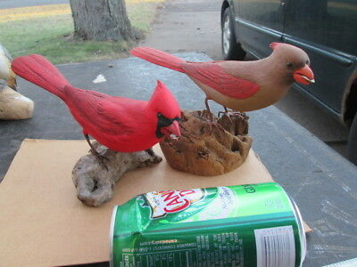hand carved & painted pair of cardinals. signed Randy & Elaine Fisher, 1982 & 89