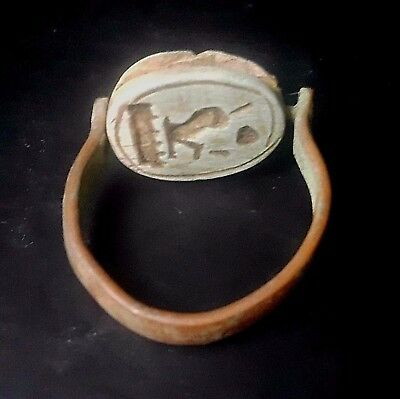 RARE ANCIENT EGYPTIAN Copper RING with Scarab a New Kingdom (1549–1069 BC