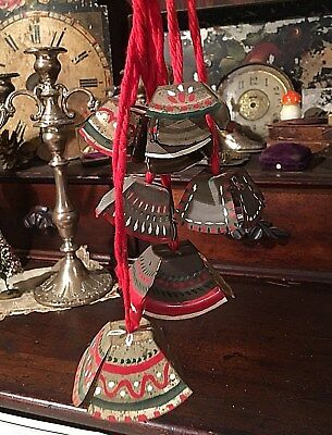 Vtg Rustic Hanging Christmas Painted Folk Art Swedish ? Chimes/Bells on String