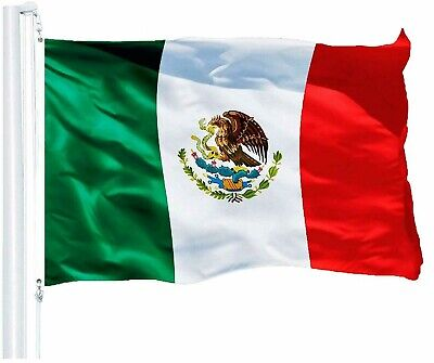 "Mexican Flag 3 X 5 150D With Brass Grommets 36"" X 60"" Indoor Outdoor Fast Ship"