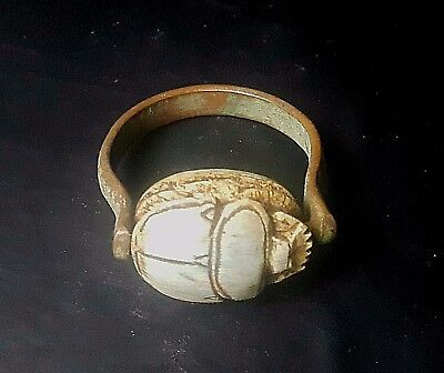 RARE ANCIENT EGYPTIAN Copper RING with Scarab e New Kingdom (1549–1069 BC